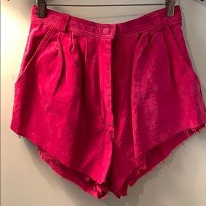 Vintage fuchsia suede shorts